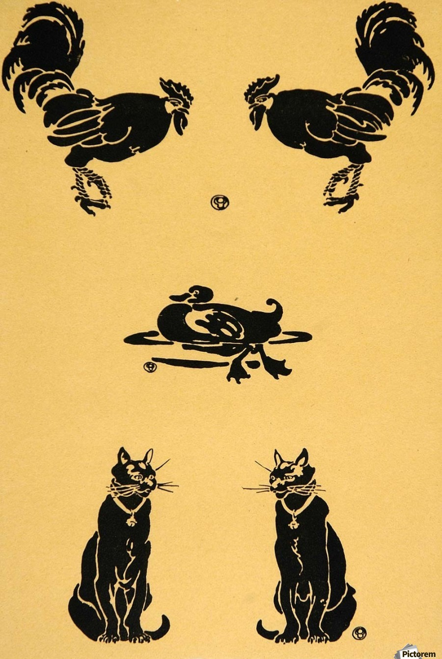 1913 Rooster Cock Duck Cats Edward Penfield Mini Poster  Print