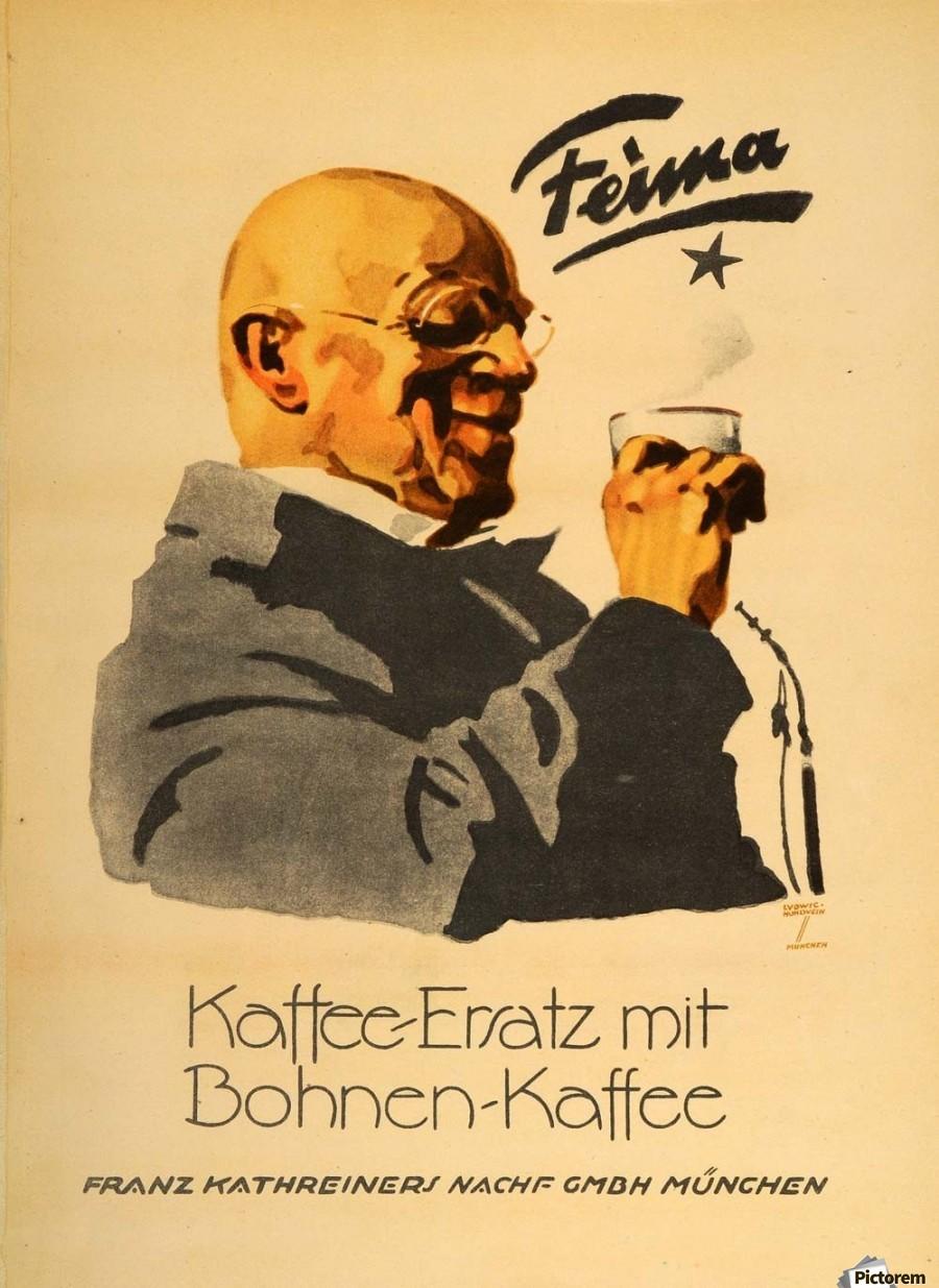 1926 ludwig hohlwein feima kaffee ersatz coffee poster vintage poster canvas. Black Bedroom Furniture Sets. Home Design Ideas