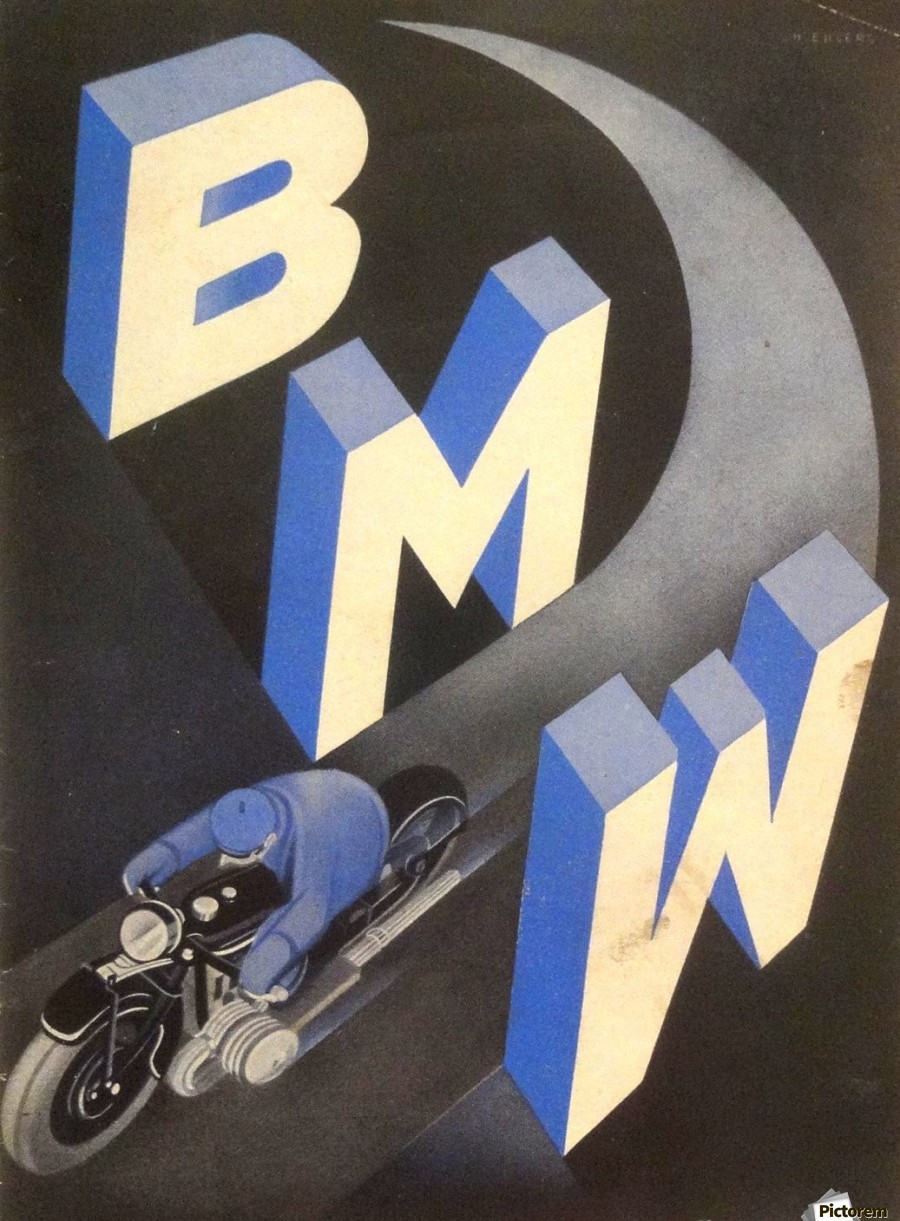 1930 bmw art deco poster vintage poster canvas. Black Bedroom Furniture Sets. Home Design Ideas