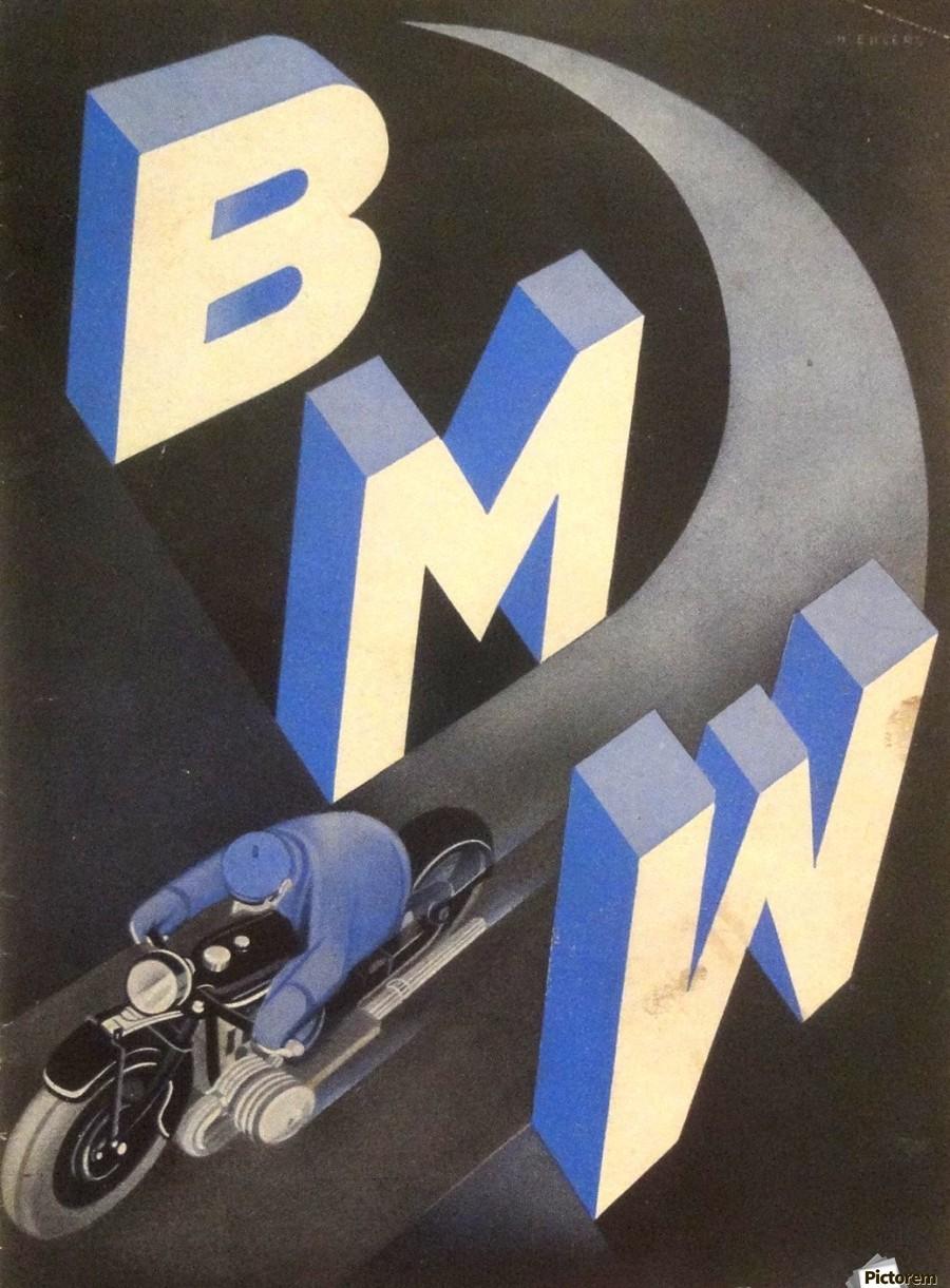1930 bmw art deco poster vintage poster canvas. Black Bedroom Furniture Sets. Home Design Ideas