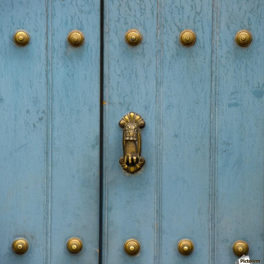 A Blue Door With Brass Decorative Knobs; Cusco, Peru  Print