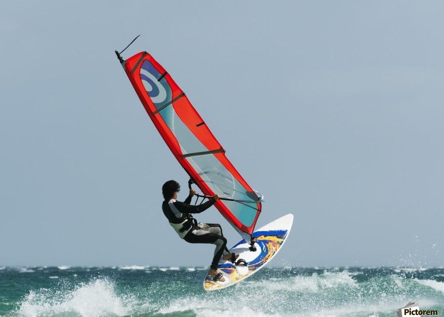 A Windsurfer In The Water; Tarifa, Cadiz, Andalusia, Spain  Print