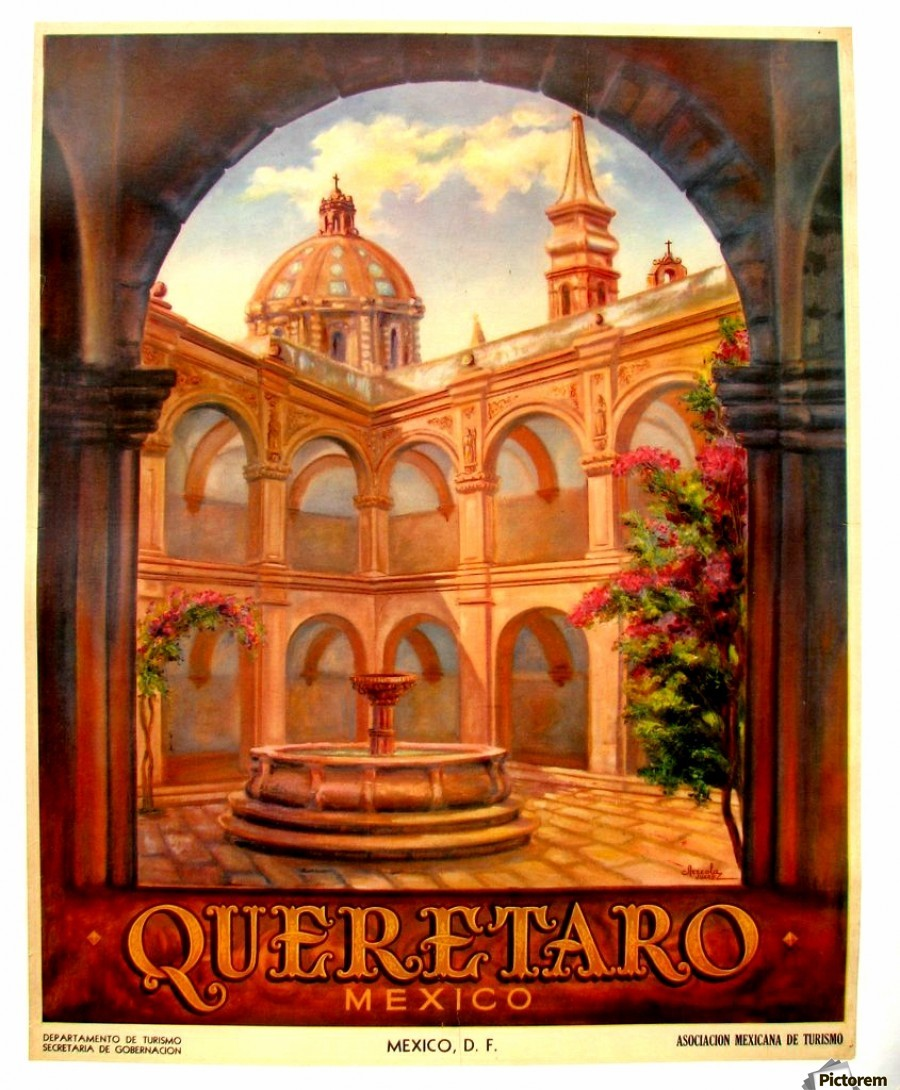 Vintage Travel Trailers: 1950 Original Vintage Art Deco Queretaro Mexico Travel