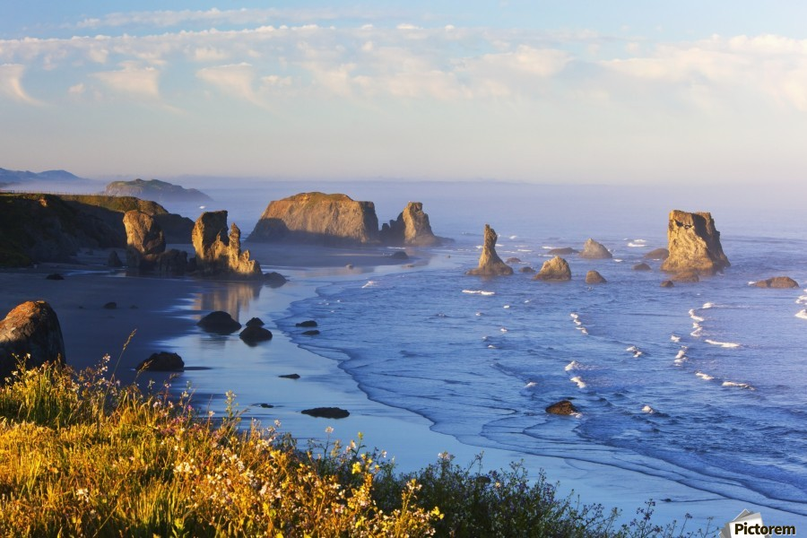 Fog Covers Rock Formations Along The Coast At Bandon State Park; Bandon, Oregon, United States of America  Print
