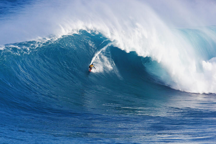 Hawaii, Maui, Peahi (Jaws), Surfer Rides A Giant Wave  Print
