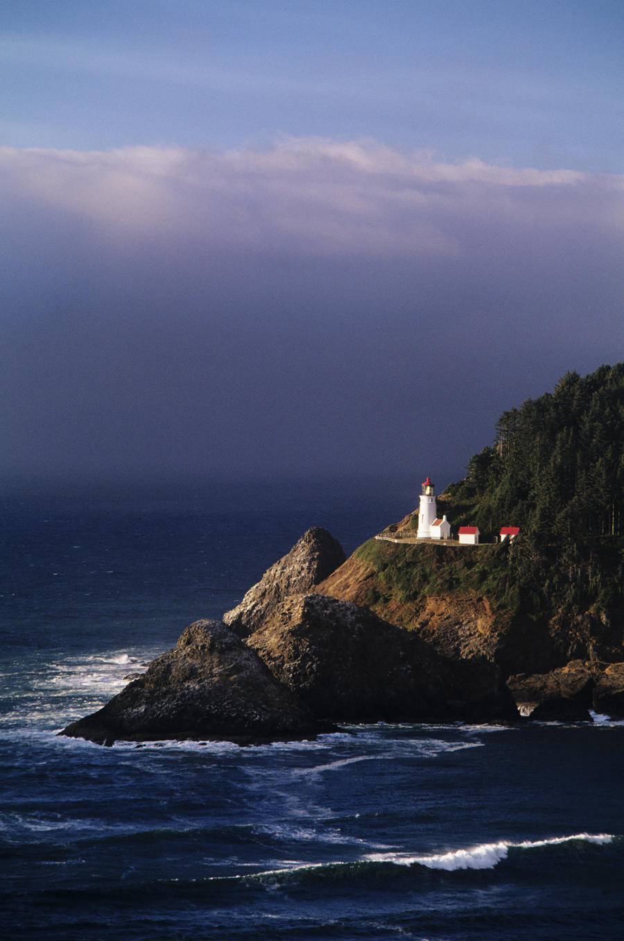 Oregon, Devils Elbow State Park, Heceta Head Lighthouse Overlooking Ocean And Waves.  Print