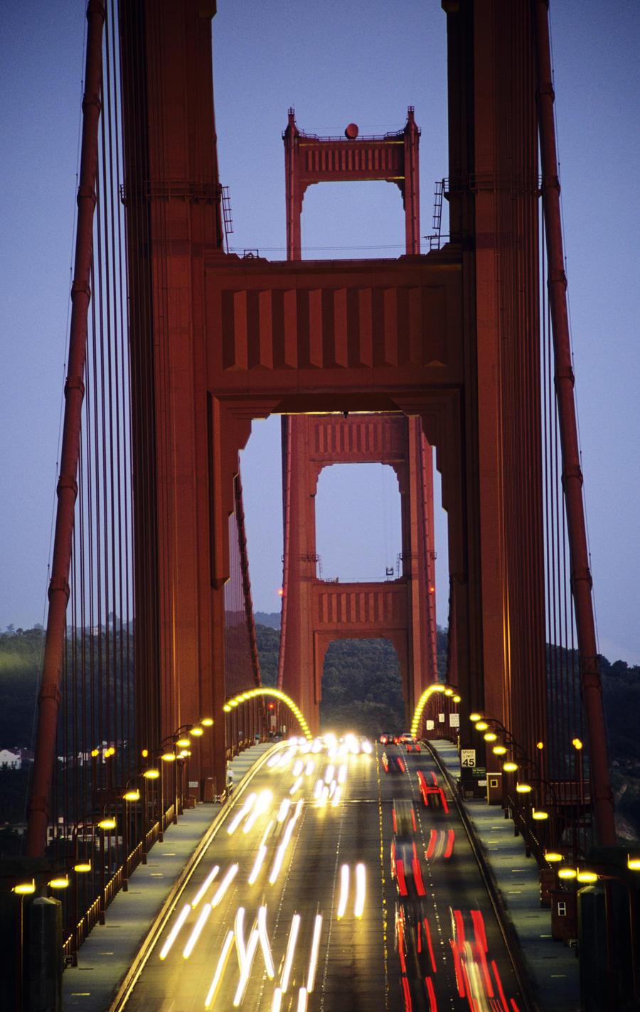California San Francisco Golden Gate Bridge Blurred