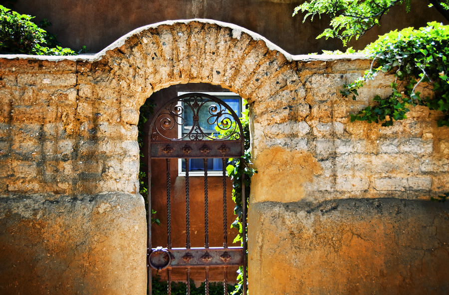 New Mexican Doors, New Mexico, Details Of Old Stone Doorway And Garden.  Print