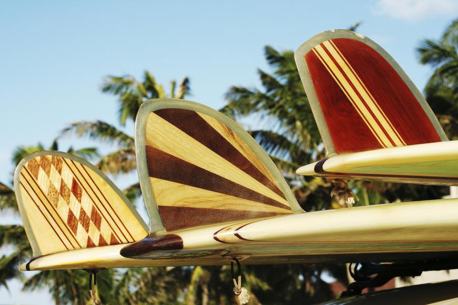 Hawaii, Oahu, Colorful Hawaiian Design Surfboards Fins.  Print