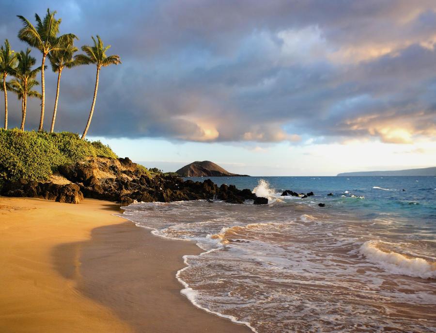 Hawaii, Maui, Makena, Secret Beach At Sunset.  Print