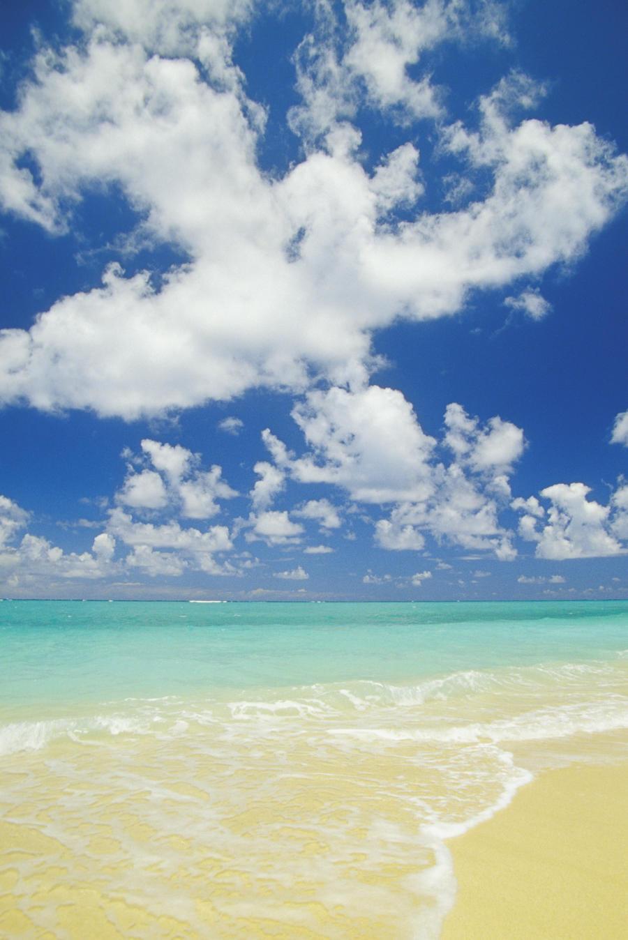 Hawaii, Oahu, Lanikai; Gentle Wave Washing Ashore On Beach, Turquoise Water And Blue Sky.  Print