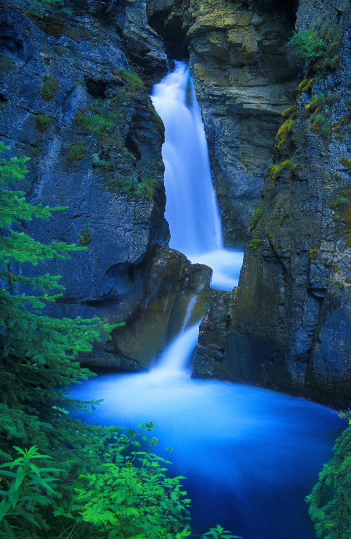 A Beautiful Waterfall, Johnston Canyon, Banff, Alberta, Canada  Print