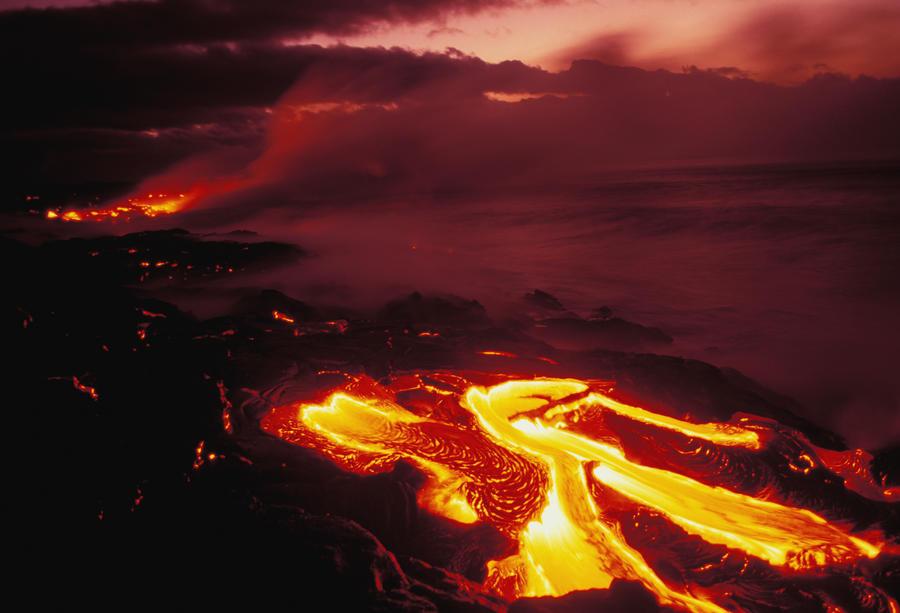 Hawaii, Big Island, Hawaii Volcanoes National Park, Lava Flow Glows In Early Dawn  Print