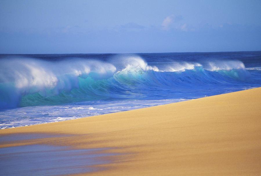 Shorebreak Waves Along Sandy Beach, Blue Sky  Print