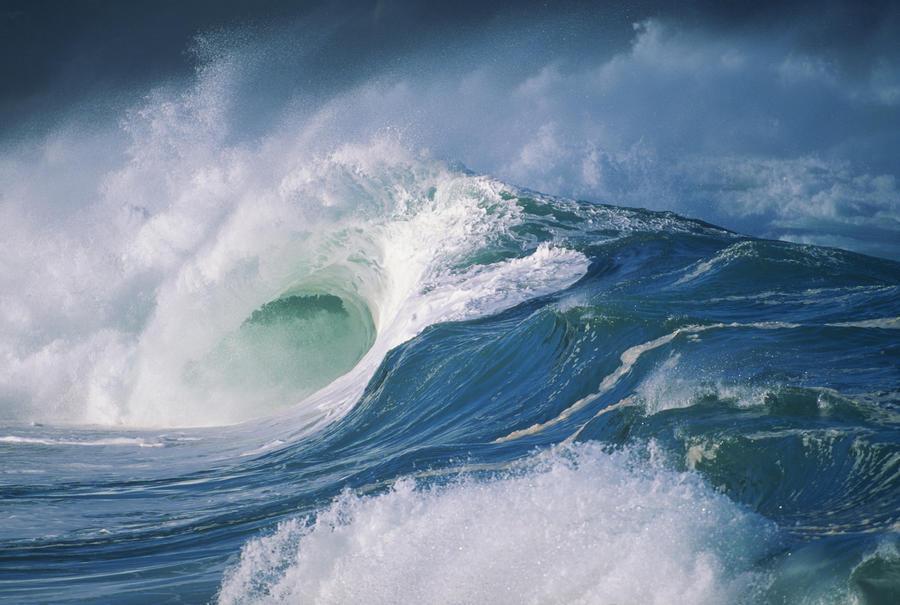 Turbulent Shorebreak Waves With Whitewash.  Print