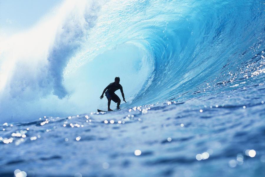 Hawaii, Oahu, North Shore, Silhouette Of Surfer In Pipeline Barrel  Print
