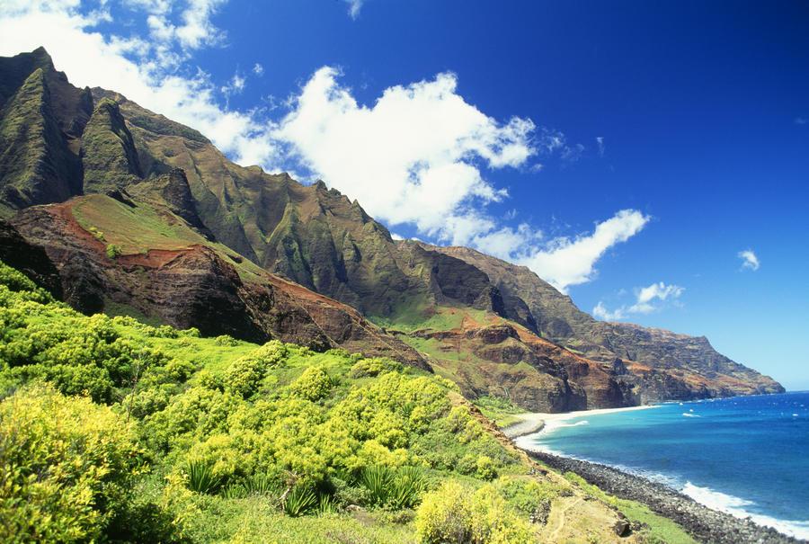 Hawaii, Kauai, Napali Coast, Kalalau Valley, Secluded Beach  Print