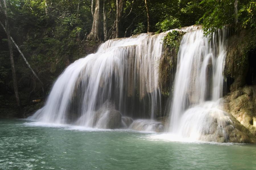 Thailand, Kanchanaburi Province, Erawan National Park, One Of The Falls From The 7-Tiered Erawan Waterfall  Print