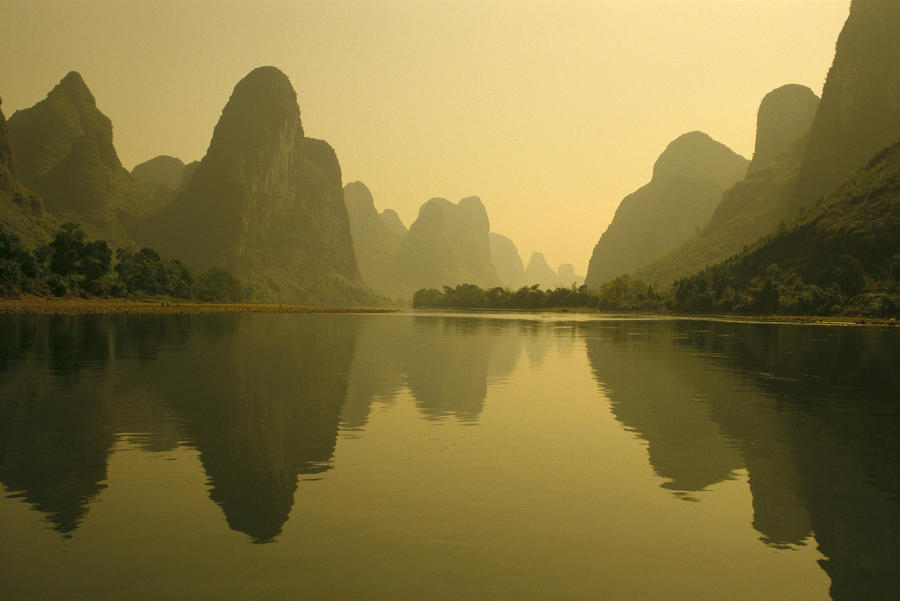 China, Guilin, Piled Silk Mountains, Li River With Reflections In Water A72H  Print