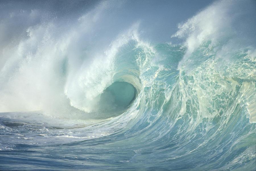 Huge Wave Curling, Crashing Side View Of Curl C1723  Print