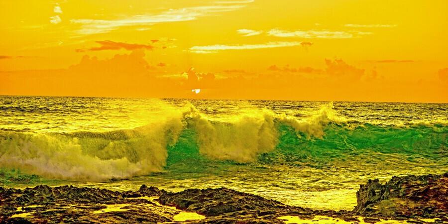 At the Sea Shore Panorama - Sunset Hawaiian Islands  Print