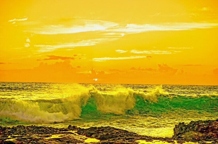 At the Sea Shore - Sunset Hawaiian Islands  Print