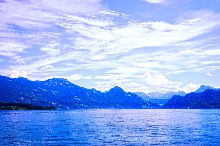 Beautiful Day The Alps and Lake Lucerne 1 of 2  Print