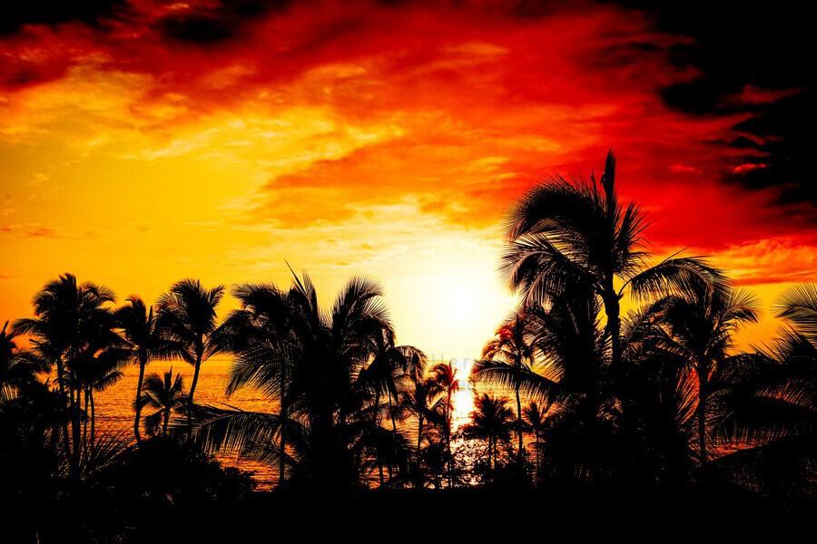 Fire in the Heavens - Sunset Hawaiian Islands  Print