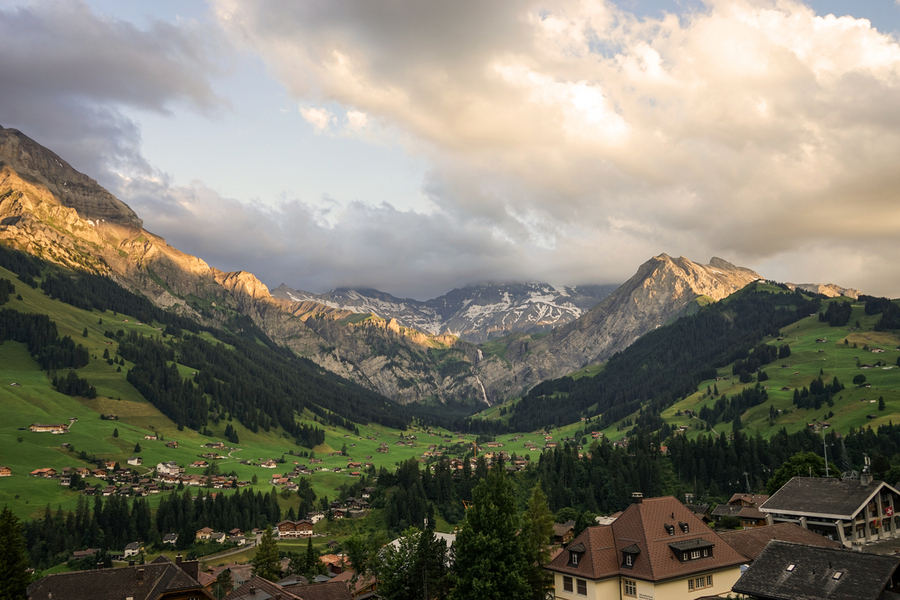 Golden Rays of the Sun Across the Mountains at Sunset in Switzerland 2 of 2  Print