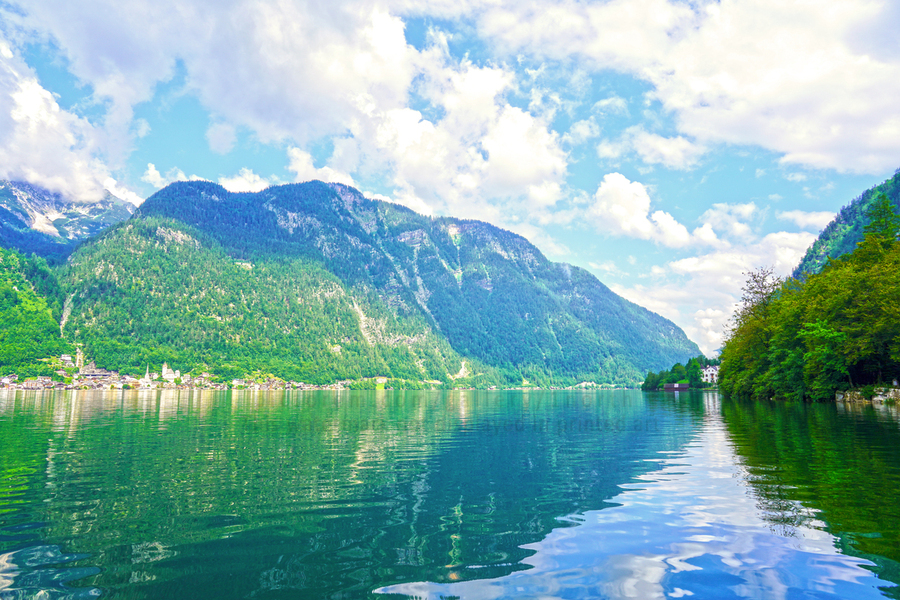 Hallstatt and Grub Castle with Beautiful Reflections in the Waters of Lake Hallstatt  Print