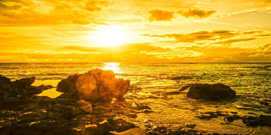 Majestic Sunset Panorama - Sunset Hawaiian Islands  Print