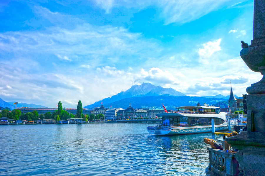Mount Pilatus on the Shores of Lake Lucerne   Central Swiss Alps  Print