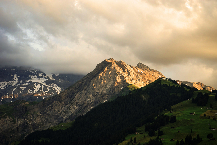 Mountain Bathed in the Golden Rays of the Sun at Sunset in Switzerland 1 of 3  Print