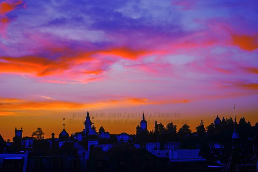 One Fine Summer Evening at Sunset in Lucerne Switzerland  Print