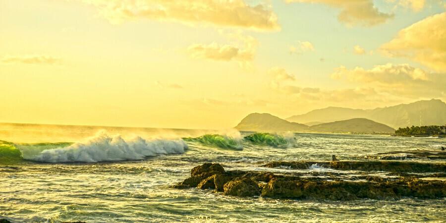Perfect Day Panorama - Sunset Hawaiian Islands  Print