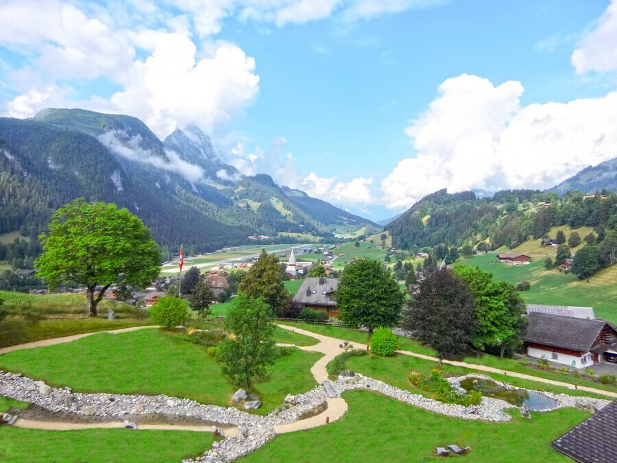 The  Saane valley in Switzerland Surrounded by the Alps  Print