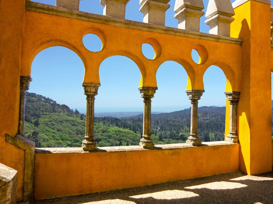 Shadows and Sunlight - Palace of Pena - Sintra Portugal  Print