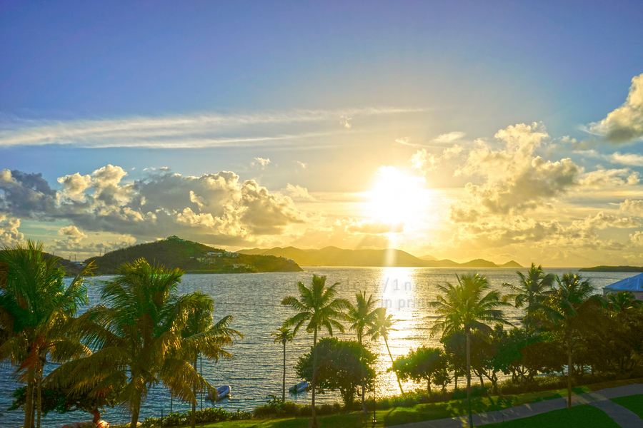 Sunset over Saint Thomas in the Caribbean Islands  Print