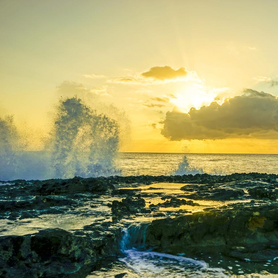 Waves Swirl at the Seaside Hawaii - Square  Print