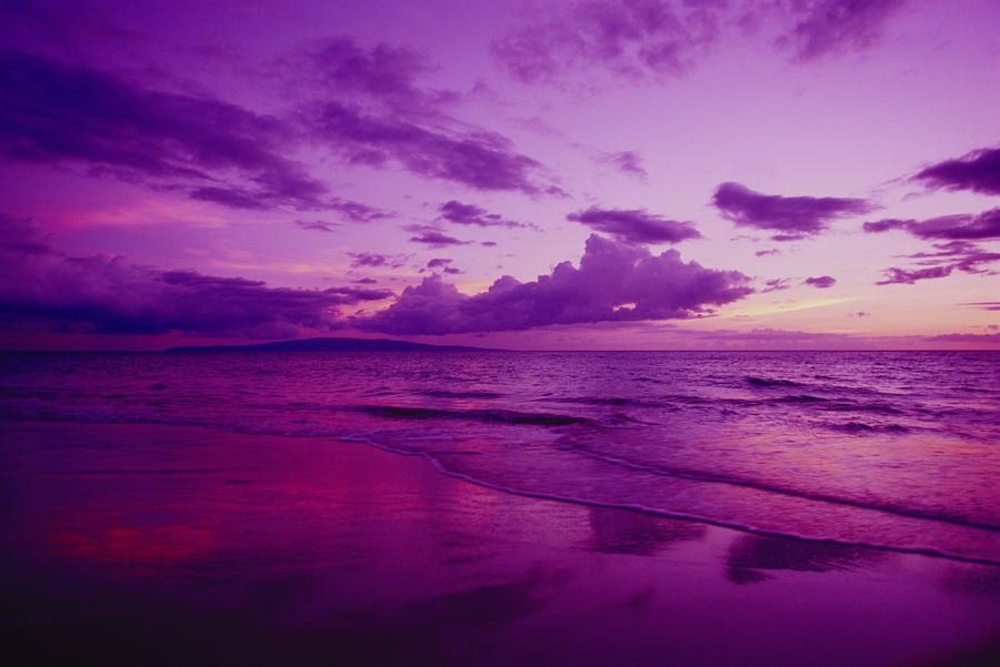 Hawaii Maui Kihei Sunset Purple Sky Shoreline At Kamaole Beach