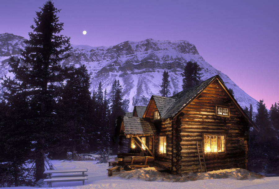 jerry kobalenko skoki cabin banff national park cabin at night in rh pictorem com cabin in the mountains washington state cabin in the mountains picture