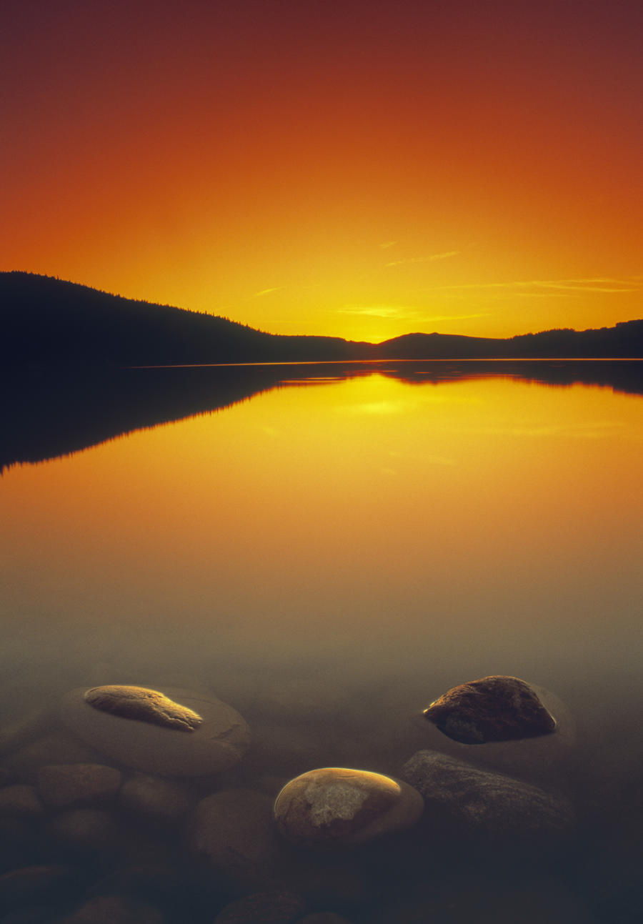 Reesor Lake At Sunset, Cypress Hills Interprovincial Park, Elkwater, Alberta, Canada  Print