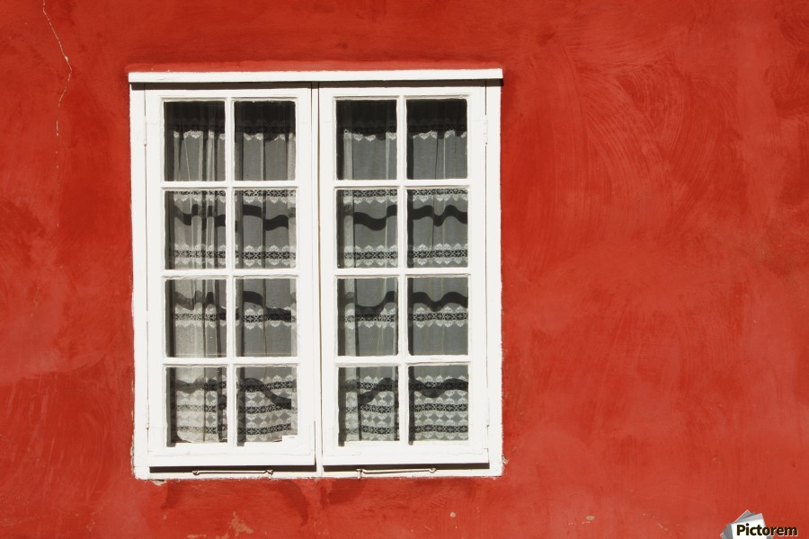 Red Timber House And Window Frame In The Old Town; Porvoo, Finland  Print