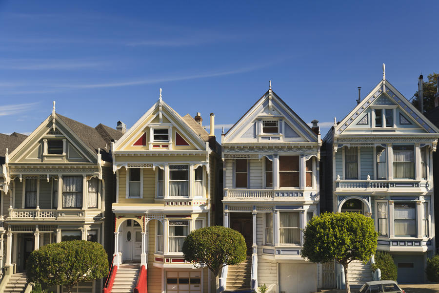Canvas Print. Victorian Style Homes Near Alamo Square; San Francisco ...
