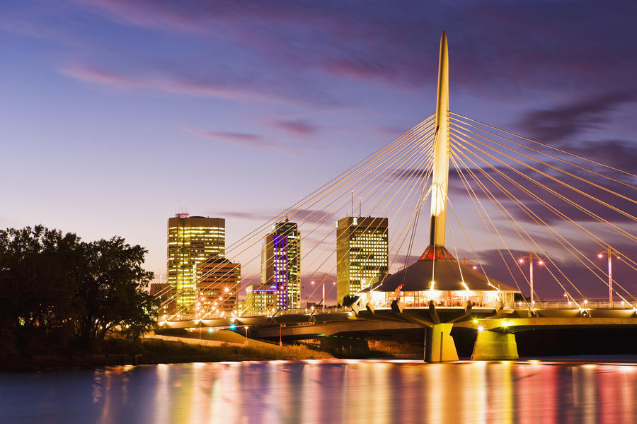 City Skyline, Red River And Provencher Bridge At Dusk, Winnipeg, Manitoba  Print