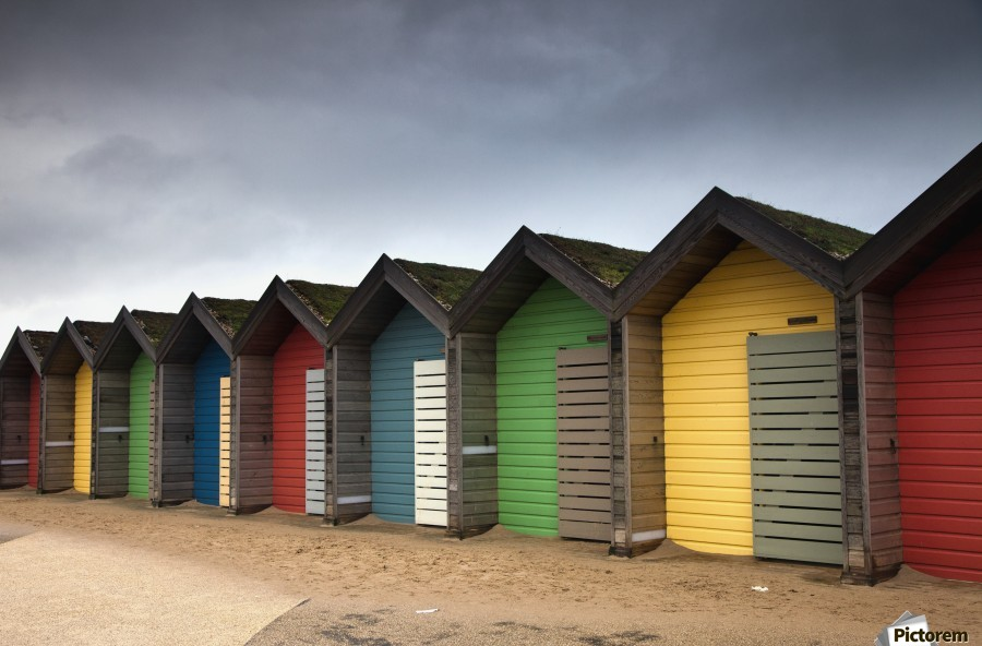 Colourful Beach Huts; Blythe, Northumberland, England  Print