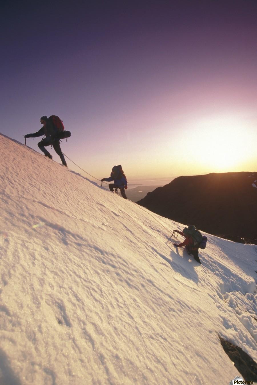 Mountain Climbers @ Sunset Chugach Mts Southcentral Ak  Print
