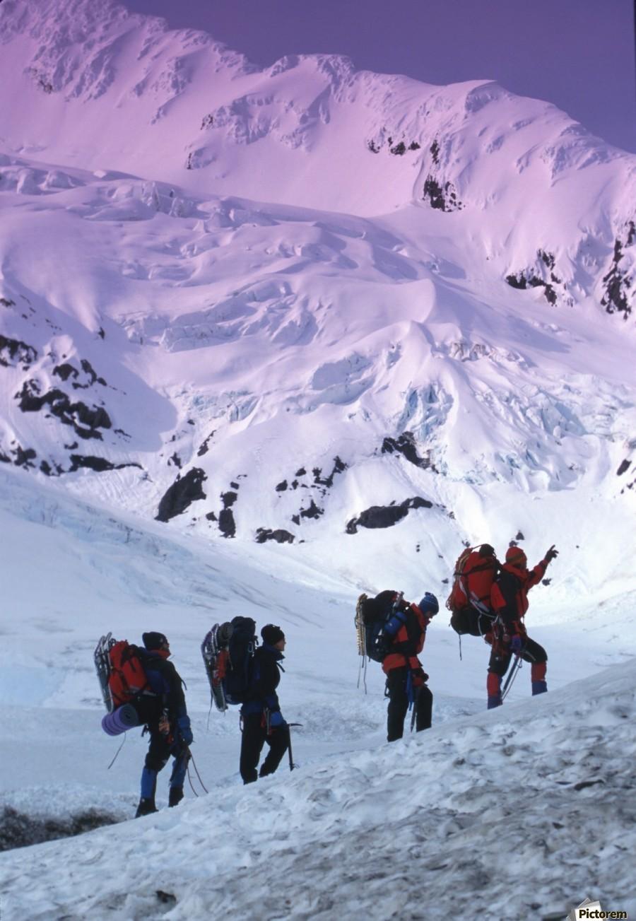 Mountain Climbers Byron Glacier Southcentral Ak Spring  Print