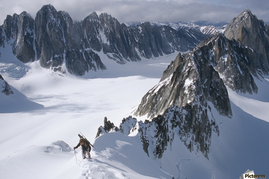 Mountaineer Climbing On Narrow Ridge In Kichatna Mtns Denali National Park Interior Alaska Winter  Print
