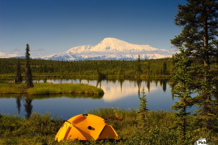Tent Camping In Wrangell Saint Elias National Park With Mount Sanford In The Background, Southcentral Alaska, Summer  Print